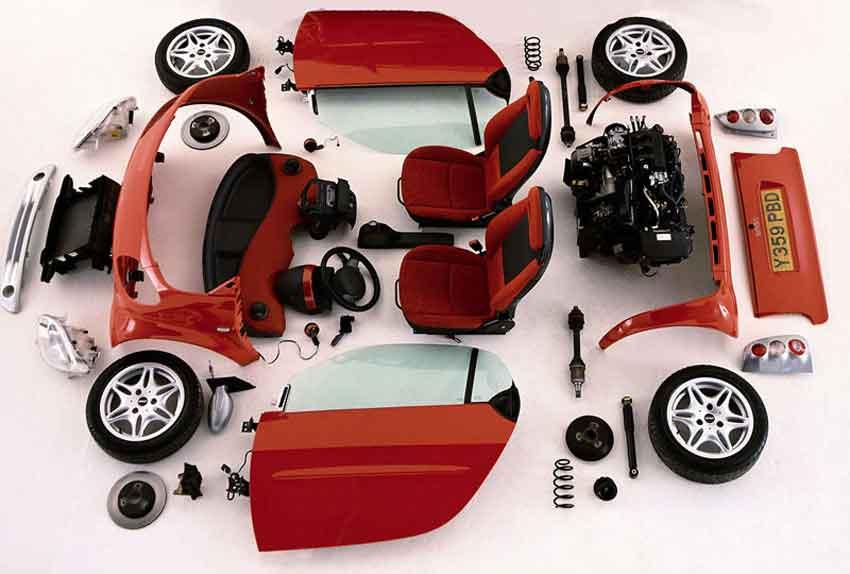 красный автомобиль по запчастям