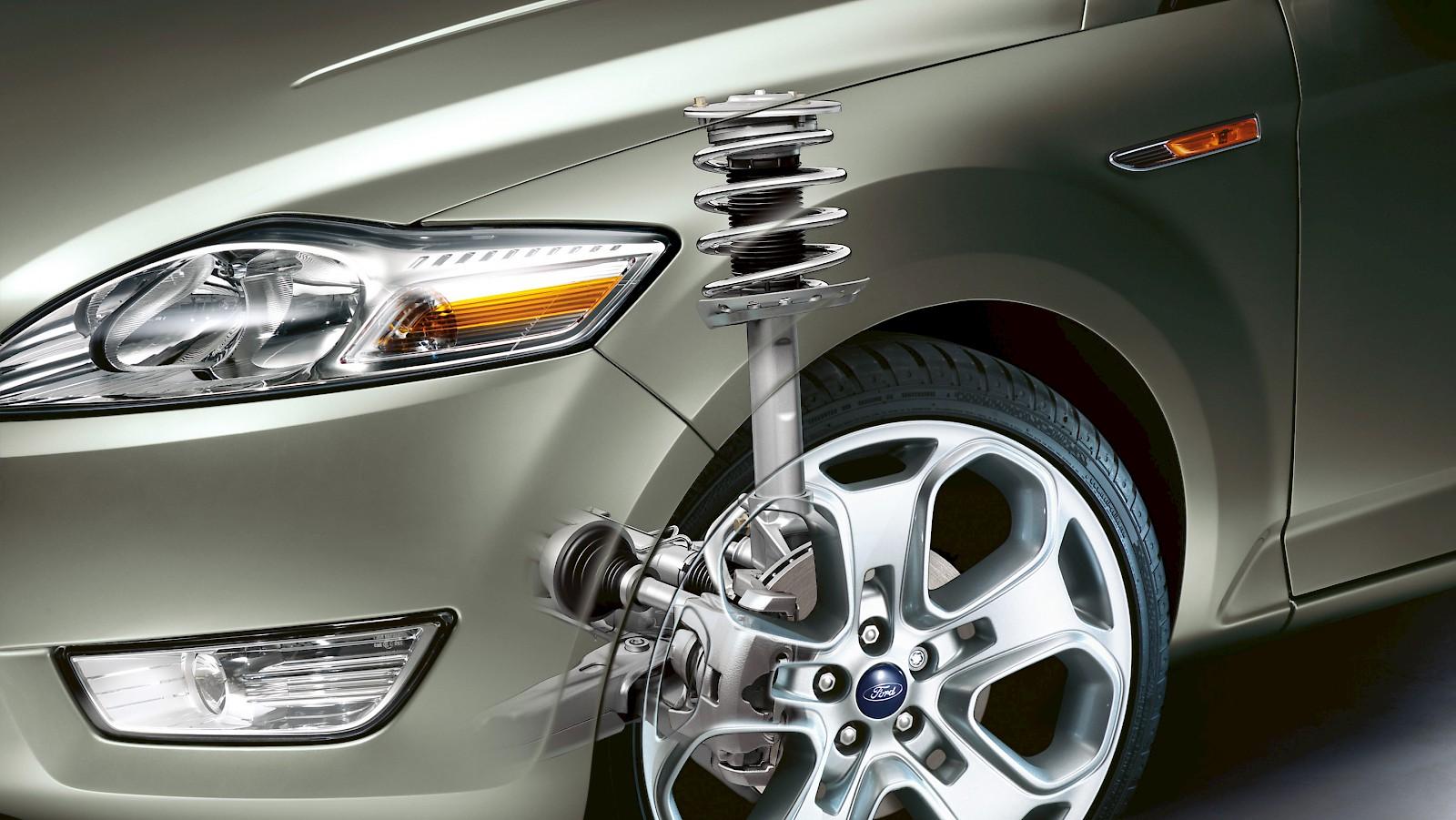колесо и элементы подвески автомобиля